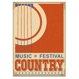 Country music festival background with text.Vector old poster w. Country music festival background with acoustic guitar.Vector poster illustration for text Royalty Free Stock Photo