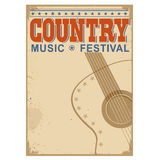 Country music festival background with text.Vector old poster w. Country music festival background with symbol of guitar.Vector poster illustration Royalty Free Stock Photos