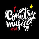Country music Festival hand drawn vector lettering sing. Isolated on BLACK background. EPS 8 royalty free illustration