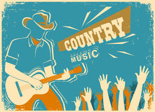 Country music festival with musician playing guitar. Country music festival background with musician playing guitar.Vector old vintage poster illustration Stock Images