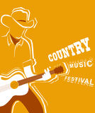 Country music festival poster with musician playing guitar Stock Images