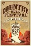 Country music festival poster. Party flyer with cowboy boots. Design element for poster, card, label, sign, card, banner. Vector image stock illustration