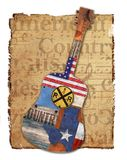 Country Music Guitar American Rustic. Country Music American Guitar Texas Grunge Rustic Vintage Roadhouse Singer Flag Art Logo Wood Rust Handmade Stock Image