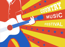 Country music poster with man musician and guitar. Royalty Free Stock Photography