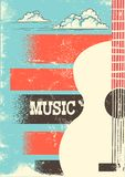 Country Music poster with musical instrument acoustic guitar.Vec Royalty Free Illustration