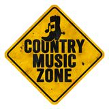 Country Music Zone Sign. Music Zone Sign Grunge Metal Roadside Highway Rusted Vintage Antique Tin Old yield jazz country pop rock Austin Memphis stock image