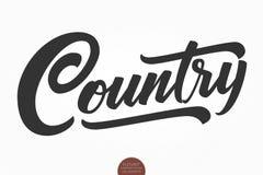 Country muziek Het vector muzikale hand getrokken van letters voorzien Elegante moderne met de hand geschreven kalligrafie De ill stock illustratie