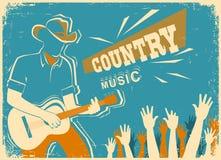 Country muziekfestival met musicus het spelen gitaar stock illustratie