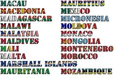 Country names in colors of national flags - complete set. Letter M. Royalty Free Stock Photos
