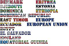 Country names in colors of national flags - complete set. Letters D, E. Royalty Free Stock Photos