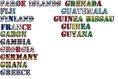 Country names in colors of national flags - complete set. Letters F, G. Country names in colors of national flags - complete set. Part 5 of 12 Royalty Free Stock Photo