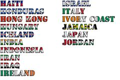 Country names in colors of national flags - complete set. Letters H, I, J. Royalty Free Stock Photography