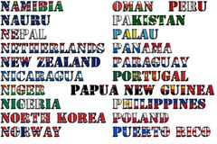 Country names in colors of national flags - complete set. Letters N, O, P. Royalty Free Stock Image