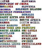 Country names in colors of national flags - complete set. Letters Q, R, S. stock image