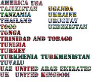 Country names in colors of national flags - complete set. Letters T, U. royalty free stock photo