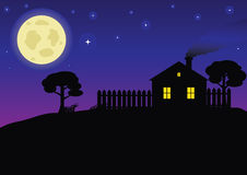 Country Night. Night landscape with a house and a big moon Royalty Free Stock Photos