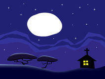 The country at night. Inspired by 'Day of the Tentacle stock illustration