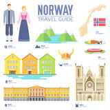 Country Norway travel vacation guide of goods, places and features. Set of architecture, people, culture, icons. Background concept Royalty Free Stock Photos