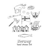 Country Norway travel vacation Set with architecture, culture doodle icons Vector illustration Stock Image