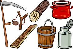Country objects cartoon illustration set Royalty Free Stock Images