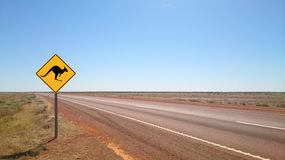 Country outback road in Flinders Ranges. Country outback with yellow kangaroo road sign in Flinders Ranges, South Australia royalty free stock photography