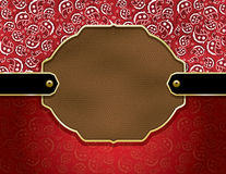 Country paisley and leather background. Background containing a red paisley handkerchief pattern and leather badge stock illustration