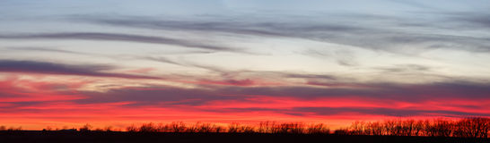 Country Panoramic Sunset. A panoramic image of a beautiful, colorful sunset in Kansas. Image taken on February 6, 2016 Stock Image