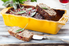Country pate. With meat and liver Royalty Free Stock Photo