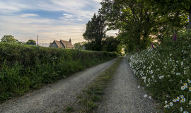 A country path and church Royalty Free Stock Photo