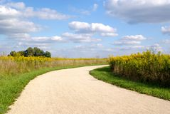 A Country Path. A gravel path cutting through a field of wildflowers Royalty Free Stock Photos