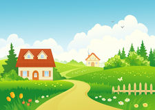 Country path. Illustration of a beautiful rural landscape Royalty Free Stock Photography