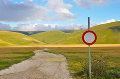 Country path with road sign of no entry Royalty Free Stock Image