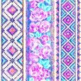 Country Pattern With Roses Ethnic Abstract Geometric Art Print Wallpaper Cloth Royalty Free Stock Photos