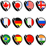 Country phone icons Stock Photos