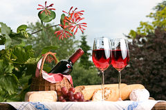 Country picnic. Romantic setting with wine and food for two Stock Photos