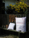 Country pillows. Rural picture with handcrafted pillows Royalty Free Stock Image