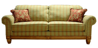 Country Plaid Sofa. Green Country Plaid Sofa with Pine Accent Trim Stock Photography