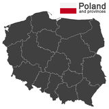 Country Poland and voivodeships. European country Poland and detailed voivodeships (provinces Royalty Free Stock Images