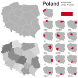 country Poland and voivodeships Royalty Free Stock Photo