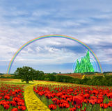 Country Poppy Meadows. Illustration of fields of red poppies growing in the country landscape with the yellow brick road leading to a beautiful tree and then on Stock Photos