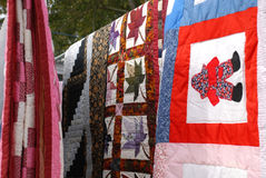 Country Quilts hanging Stock Photography