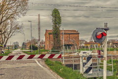 Country railway crossing Royalty Free Stock Photo