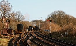 The Country Railway. A preserved steam railway in the rural countryside of Shropshire England Stock Images