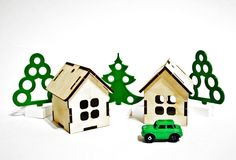 Country real estate. The house, the trees, the car, the money thing in the background stock image
