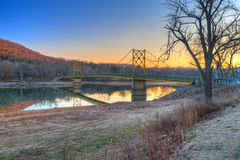 Country Bridge. Country River Bridge at sunset in northwest Arkansas Stock Photography