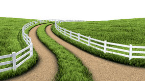 Country road. (3D illustration with  and meadow Royalty Free Stock Images