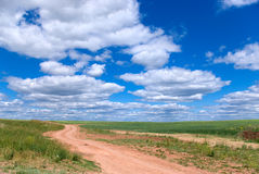 Country road. Road in the field.The cloudy sky Royalty Free Stock Images