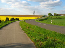 Country road. With bicycle path along of fields Royalty Free Stock Images