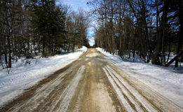 A country road. A wintery gravel road in the country Stock Photos