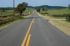 Country Road. Afternoon on a rural Virginia Road royalty free stock photo